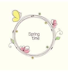 Doodle floral wreath vector image