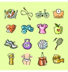 Fitness sketch colored icons set vector image vector image