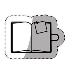 monochrome sticker with notepad and post vector image
