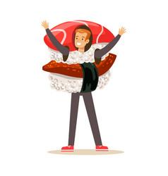 smiling man wearing sashimi sushi costume vector image vector image