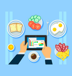 traditional business breakfast concept vector image vector image