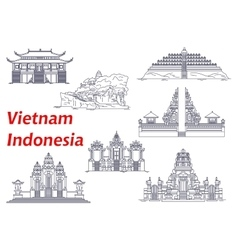 Ancient temples of Indonesia and Vietnam icons vector image