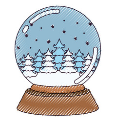 christmas crystal ball with winter forest on color vector image
