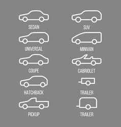different types of car body vector image