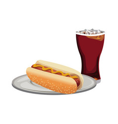 Hot dog and soda fast food products design vector