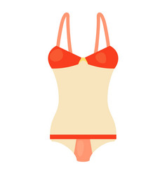 red and white swimsuit icon cartoon style vector image