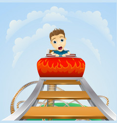 scary ride on rollercoaster vector image vector image