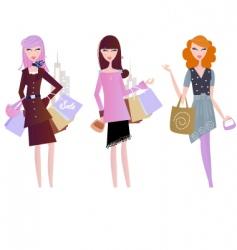 sexy women shopping vector image