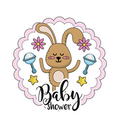 baby shower emblem to welcome a child vector image