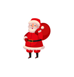 flat santa claus with present boxes bag vector image vector image