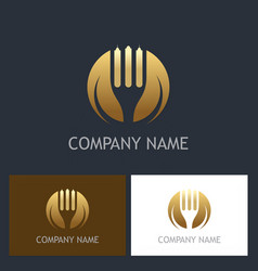 fork gold company logo vector image