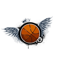 Grunge image with basketball vector image vector image