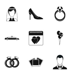 Marriage ceremony icons set simple style vector