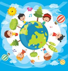 of world kids vector image