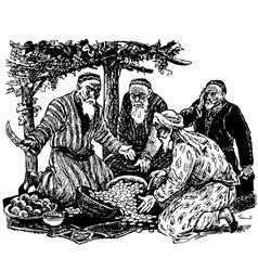 Old men divide the treasure vector image vector image