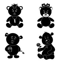 Set cartoon teddy bears silhouette vector image vector image