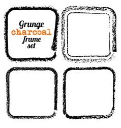 Set of four grunge square charcoal frames vector image