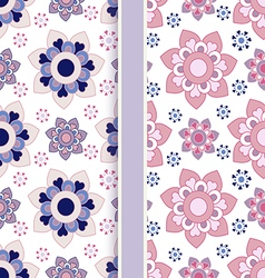 set of two color floral seamless patterns vector image