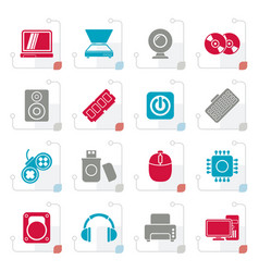 stylized computer parts and devices icons vector image vector image