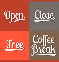 text for business working hours open vector image vector image