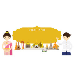 thailand landmarks people in traditional clothing vector image vector image