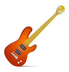 Abstract Orange Fretless Bass Guitar Isolated on vector image vector image