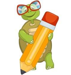 Funny Turtle Writing vector image vector image