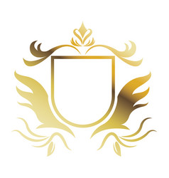 golden shield heraldic luxury frame decoration vector image