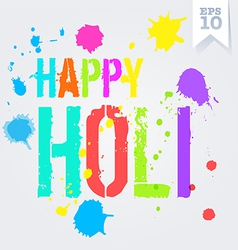 Happy Holi splash colors postcard vector image vector image