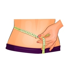 measuring waist with measuring tape vector image vector image