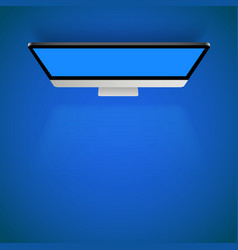 monitor blue light top view background vector image vector image