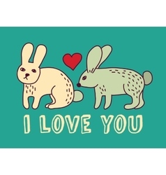 Rabbit love valentine color card vector image vector image