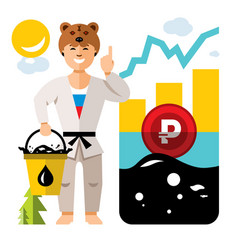 Russian economy and oil industry floating vector