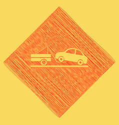 tow truck sign red scribble icon obtained vector image vector image