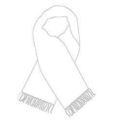 White winter scarf outline drawings vector image vector image
