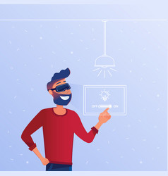 a caucasian man in vr headset operating smart vector image