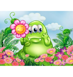 A fat green monster in the garden vector