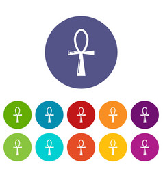 Ancient egyptian cross ankh icons set color vector