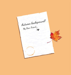 autumn frame with blank sheet of paper and maple vector image