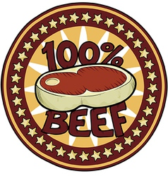 Badge 100 Beef vector image