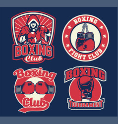 Badge design of boxing vector