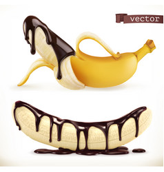 banana in chocolate 3d realistic icon vector image