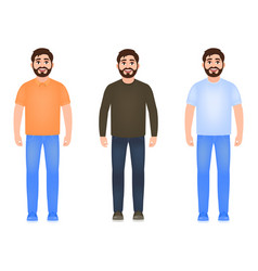 bearded man dressed in jeans t-shirt sweater and vector image