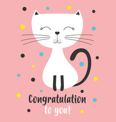birthday card with white cat vector image