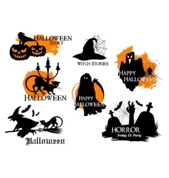 Black silhouette elements for Halloween decoration vector