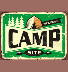 Camp site welcome sign vector