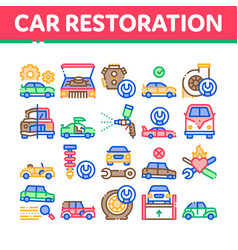 Car restoration repair collection icons set vector
