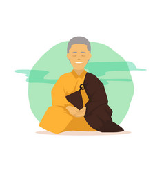 Cartoon buddhist monk in meditation poses with vector