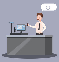 Cashier at the checkout counter with cash register vector