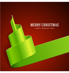 Christmas tree from green ribbon background vector image